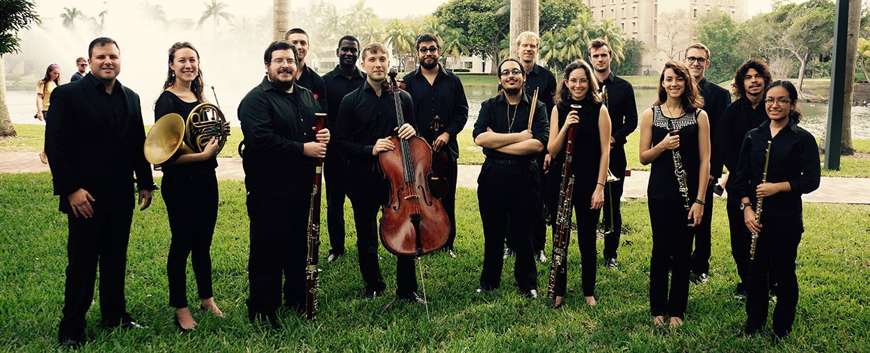 Group photo of the members of Ensemble Ibis taken at the University of Miami