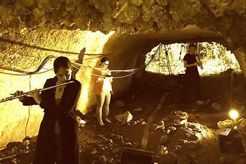 Electroacoustic Ensemble performs in a cave